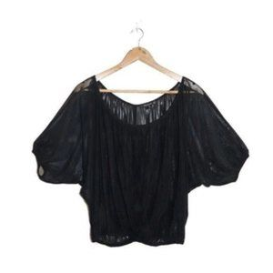 Femme Black Sheer Batwing Blouse Shirt